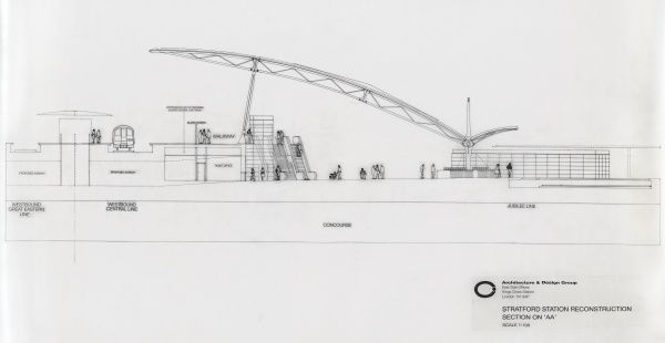 British Railways / Architecture & Design Group. Stratford Station Reconstruction Section on 'AA&#39
