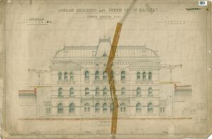 LB&SCR. South London Line. Peckham Rye Lane Station. Drawing No.3 Front Elevation.