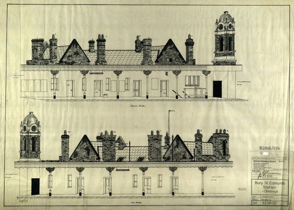 Elevation of station and chimneys on Up and Down sides
