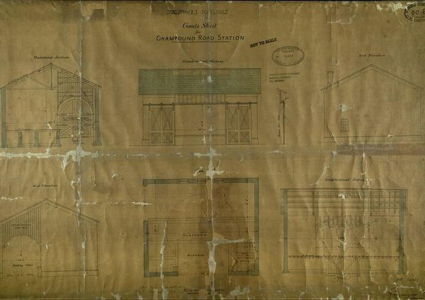 Sections, Elevations and Plan of the Goods Shed at Grampound Road Station, Cornwall