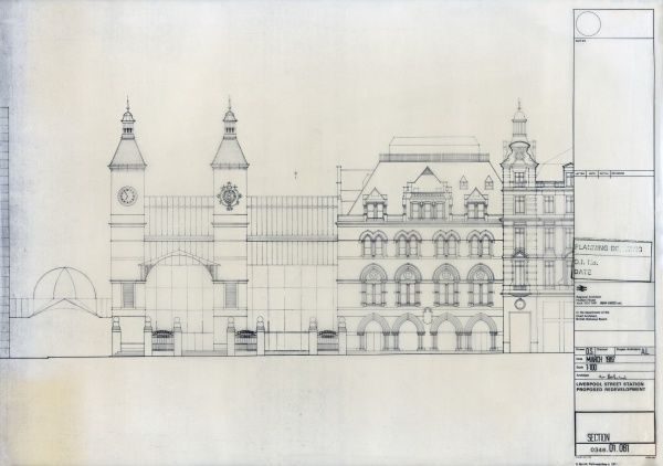 Liverpool Street Station. British Railways. Liverpool Street Station Proposed Redevelopment - section. Mar-87