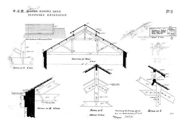 Sections, Details and Part Elevation of roof Please note this is a microfilm copy and not the original