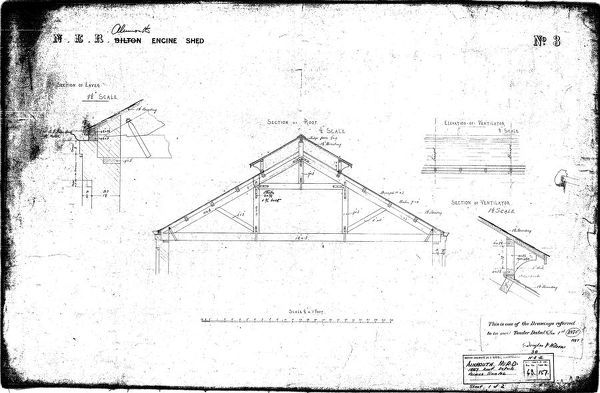 Drawing no.3 Sections, and Elevation of roof  Please note this is a microfilm copy and not the original
