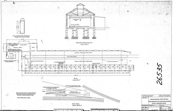 Plans and Sectional Elevations of Locomotive Shed