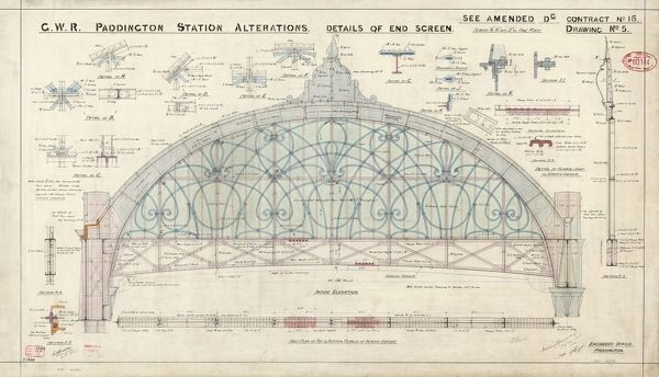 Paddington Station. Great Western Railway. Alterations - Details of End Screen