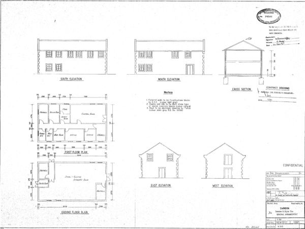 Elevations, Section and Plans of Signal Box