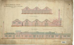 G.N.R Doncaster Station New Wagon Buildung Workshops On The Carr - Elevations [1888]