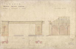 LB & SCR Crystal Palace Station Elevation of Entrance to Sheds [c1853]