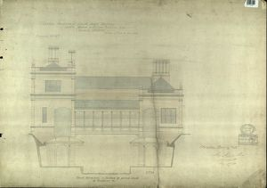 LBSCR NORTH DULWICH BACK ELEVATION AND SECTION OF COVERED SHEDS ON PLATFORMS ETC [1867]