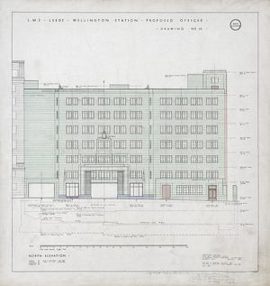LMS Leeds Wellington Station Proposed Offices. London Midland & Scottish Railway