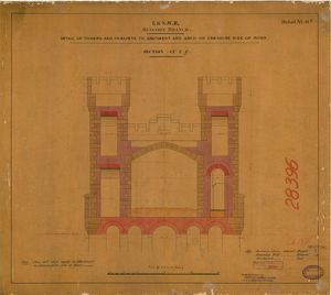 L&NWR Runcorn Bridge - Cheshire Abutment - Section at C-C [1867]