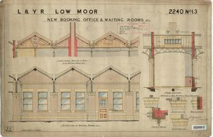 L&YR Low Moor Station - New Booking Offices and Waiting Rooms - Elevation and Sections
