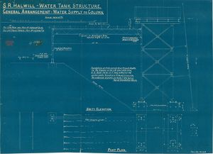 S. R. Halwill Junction Water Tank Structure. General Arrangement - Water Supply to Column
