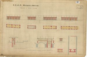 S.E & C.R Waterloo Junction Station - Buildings on Centre Platform including plans