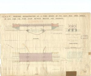 SE&CR Proposed Reconstruction As a Fixed Bridge Elevation Section and Plan [1921]