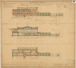 S.R. Hastings Station - Eighth scale Elevations and Sections of New Station Buildings