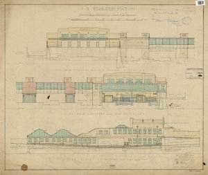 S.R. Wimbledon Station. Elevations of West Side Offices [1927]
