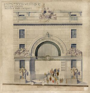 Waterloo. London & South Western Railway. Victory Arch 'Elevation of Main Entrance'